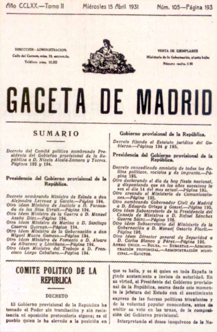 Gaceta de Madrid, 15 de Abril de 1931